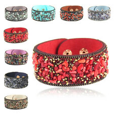 1X Women Natural Crystal Gravel Stone Wrap Leather Charm Bracelet Bangle Jewelry