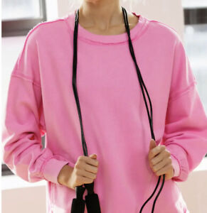 Free People Solid Metti Crew Neck Pullover Haute Pink Size Large NEW