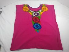 Maya Mexican Blouse Top Shirt Embroidered Flowers Oaxaca Turquoise Medium