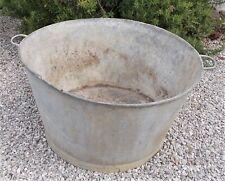 Vintage large round galvanised tub,French bath,old reclaimed garden planter potA
