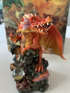 Myths And Legenda Painted Dragon Orange And Yellow With Crystal Ball.