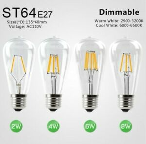 LED Dimmable Lamp, ST64 Globe Bulb, E27 Base, 4W, Cool White, 20 pieces