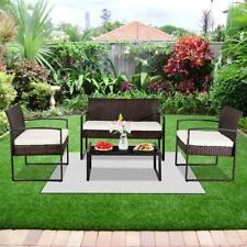 4 PC Rattan Patio Furniture Set Garden Lawn Sofa Cushioned Seat Wicker Sofa New