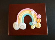 RAINBOW WITH STAR WOOD WIND UP MIRROR MUSIC BOX : YOU ARE MY SUNSHINE