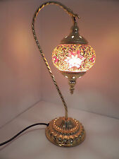 Turkish Lamp Swan Hand Made Moroccan Table Mosaic Colourful Glass