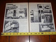 1975 VOLKSWAGEN VW BUS MOTORHOME CAMPER - FOLKSWAGON - ORIGINAL ARTICLE