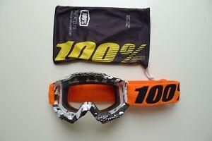 100 ACCURI MTB Goggles Mountain Bike DH Moto MX Clear Anti-fog Lens Orange Frame