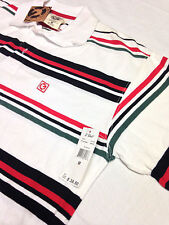 Men's G Unit Shirt Striped Green Red White Polo Rugby Size M New With Tags $38