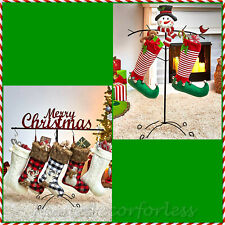 SNOWMAN or MERRY CHRISTMAS Stocking Holder Hanger Floor Stand Holiday Home Decor