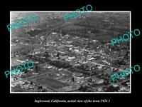 OLD LARGE HISTORIC PHOTO INGLEWOOD CALIFORNIA TOWN AERIAL VIEW c1924 2