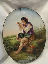 ancien plat 1883 faience peinte choisy le roi italienne a la pipe signée larcher