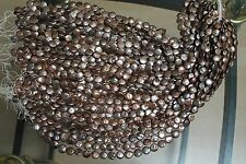 B6127 ONE STRAND COPPER COIN FRESHWATER PEARL LOOSE JEWELRY CRAFT BEAD