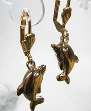 NEU 35mm DELFIN Ohrhänger STRASSSTEINE klar OHRRINGE goldfarben DELPHINE Delfine