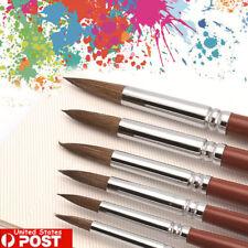 6Pcs Kolinsky Red Sable Hair Round Tip Artist Paint Brush For Watercolor Oil USA