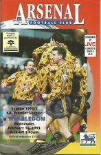 Football Programme - Arsenal v Wimbledon - Premiership - 10/2/1993