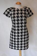 COAST Black + White Houndstooth Shift Dress Minidress - UK 8
