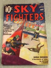 SKY FIGHTERS March 1938-AIR WAR PULP-THRILLS- BI-PLANE COVER