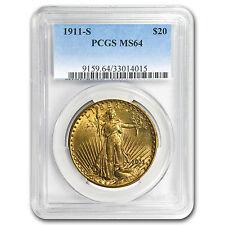 1911-S $20 Saint-Gaudens Gold Double Eagle MS-64 PCGS - SKU #15281