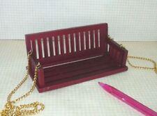 "Miniature Mahogany Porch Swing w/Gold Chain, 4 5/16"" Wide: DOLLHOUSE 1:12"