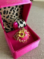 NWT 100% Betsey Johnson Pink Cupcake Yellow Flower Ring