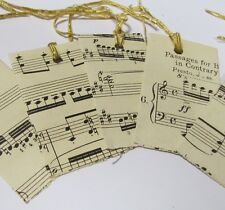 Alternative to ORGANZA GIFT BAGS. 5 x Vintage music paper. Hand made. For charms