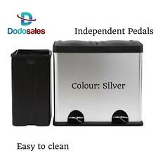 Recycle Pedal Rubbish Bin Kitchen Double Compartment Removable Bin Flip Top 60L