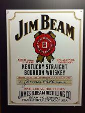 Jim Beam White Whiskey TIN SIGN Vtg LabeL Logo Home Bar Wall Decor Pub 30x40 Cm