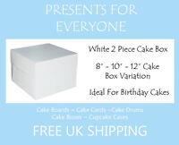 "White Cake Boxes 8 10 12"" Inch Wedding Birthday"