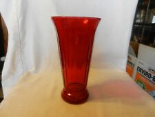 "Ruby Red Glass Roman Column Flower Vase 10.5"" Tall 5.5"" Opening"