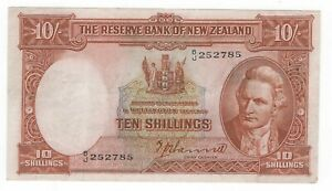 1940 NEW ZEALAND 10 SHILLINGS XF CONDITION P158a #129-1