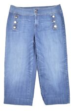 The Platinum Crop by Chico's 3 / 16 Sailor Gold Button Dark Stretch Denim Jeans