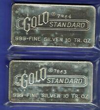2 CONSECUTIVE SERIAL NUMBER Engelhard 10 oz Silver Bars Gold Standard 7863 7864