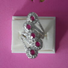DELUXE GENUINE PINK RED RUBY ROUND & WHITE CZ STERLING 925 SILVER RING SIZE L12