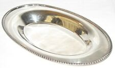 VINTAGE POOLE E.P.C. SILVERPLATE OVAL BREAD BOWL DISH TRAY #1504