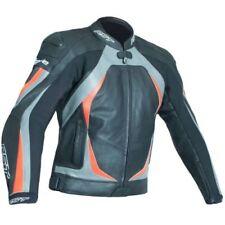 Blousons gris en cuir pour motocyclette