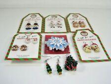 Christmas Holiday Earrings New Santa Enamel Dog Bear Glitter Snowman Pin Tree