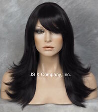 Layers and bangs  Straight Flip Flare out wig Jet Black center dot top HHJS 1