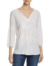 XCVI Gail Tie Neck Flare Sleeve Embroidered Top White Size S