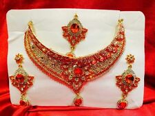 Bollywood Indian Bridal Necklace Earrings Tikka Jewellery Gold White Orange N23