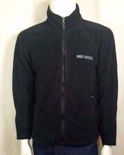 Harley Davidson Mens Embroidered Full Zip Fleece Jacket Black Size M