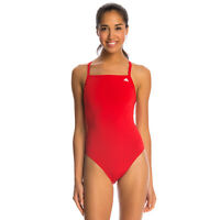 adidas Women's Solid Vortex-Back Sport Active One Piece Swimsuit, Red, 26