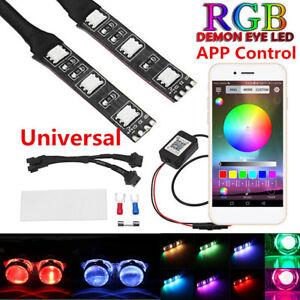 12V RGB Demon Eye LED Car Headlight Projector Retrofit Lamp Wireless App Control