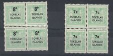 Tokelau 1966 7c 8d Surcharge Blocks of 4 MNH J5821