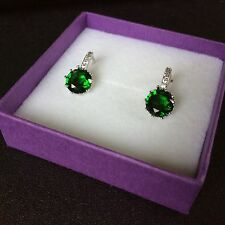 FH Plum sim diamond & emerald silver (white gold gf) French hoop earrings BOXD