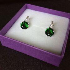 FH56 Plum sim diamond & emerald silver (white gold gf) French hoop earrings BOXD