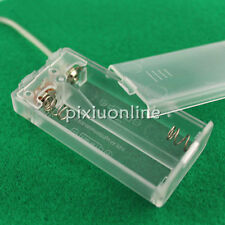 J021 Transparent Battery Box 2 AA Battery Switch Wire Environmental ABS Material