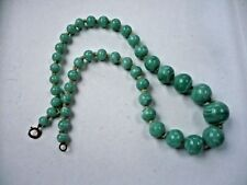 "Vintage Green Striated Glass Bead Necklace 15 1/2 ""long"