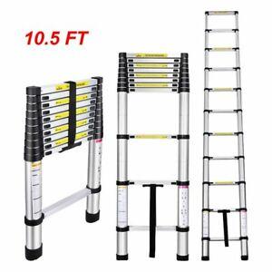 10.5FT 15.5FT Multi-Purpose Telescopic Extension Ladder Aluminum Step Foldable