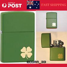 Zippo LUCKY 4 Leaf Clover Shamrock Moss Green on Solid Brass  Lighter AU Stock