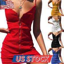 Women Sexy V-Neck Mini Dress Summer Party Strap Sleeveless Slim Bodycon Sundress